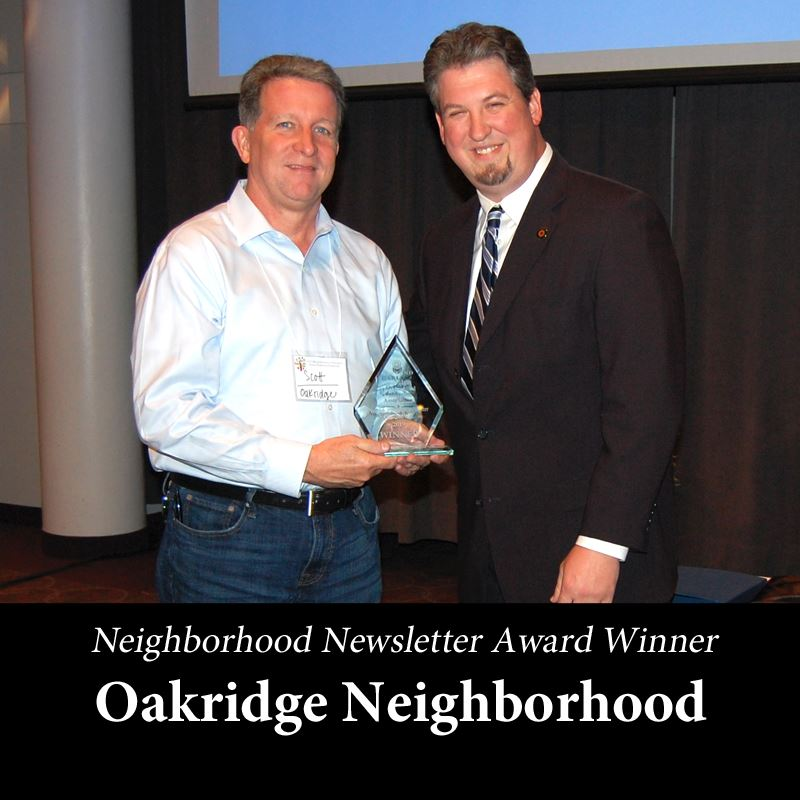2019 Neighborhood Newsletter Award Winner - Oakridge Neighborhood
