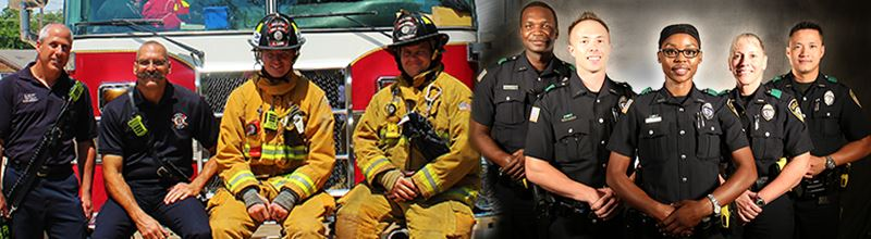 Firefighters Sitting and Police Officers Standing Together