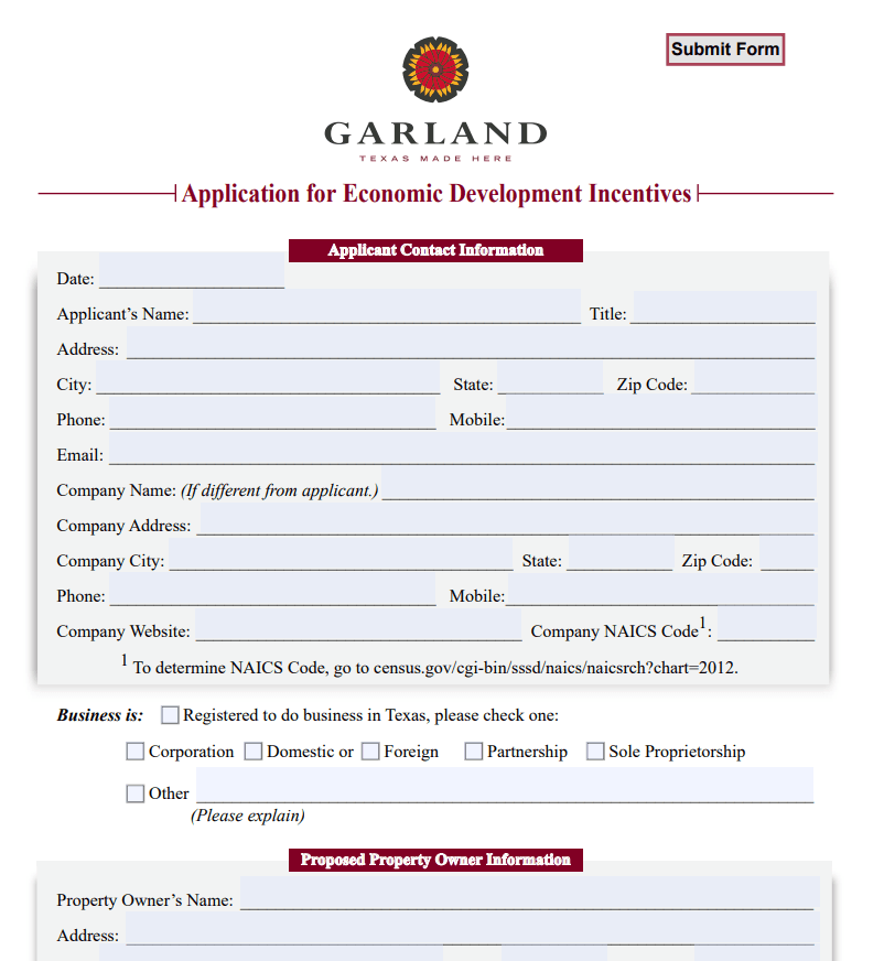 Application for Incentives